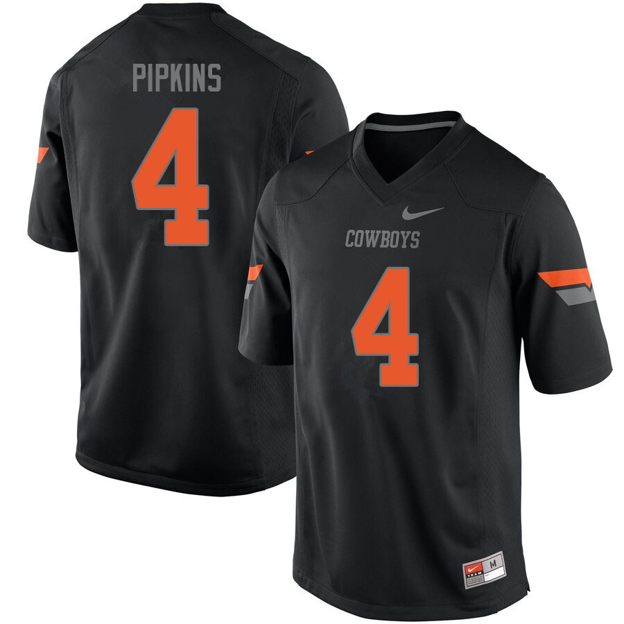 Men #4 Lenzy Pipkins Oklahoma State Cowboys College Football Jerseys Sale-Black