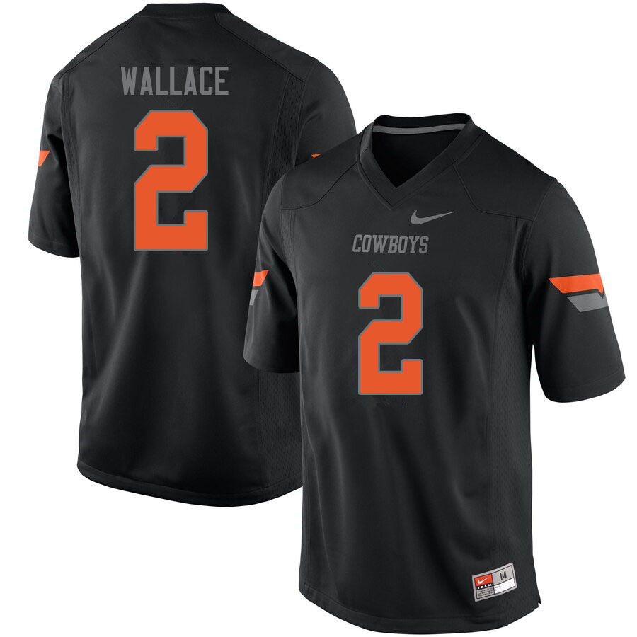 Men #2 Tylan Wallace Oklahoma State Cowboys College Football Jerseys Sale-Black