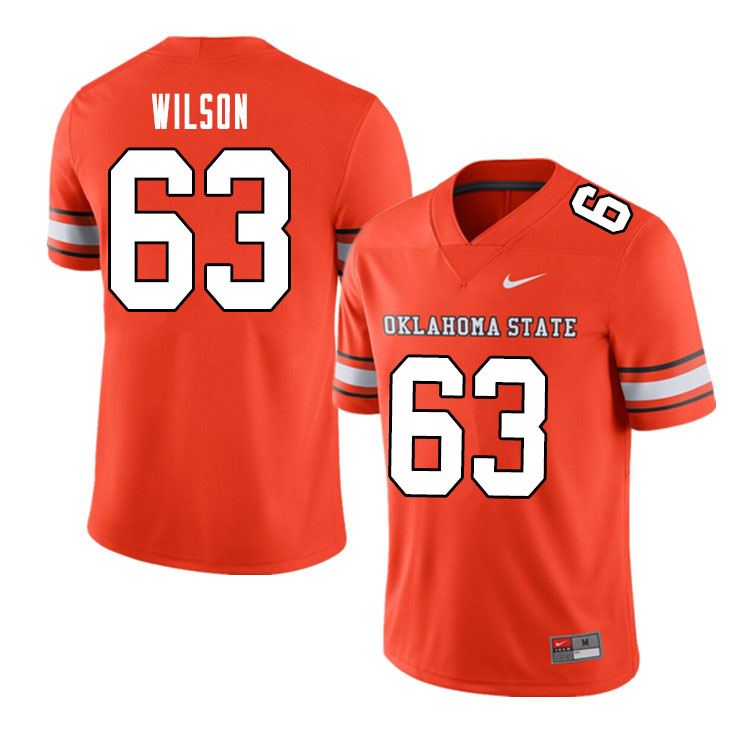 Men #63 Braedy Wilson Oklahoma State Cowboys College Football Jerseys Sale-Alternate Orange