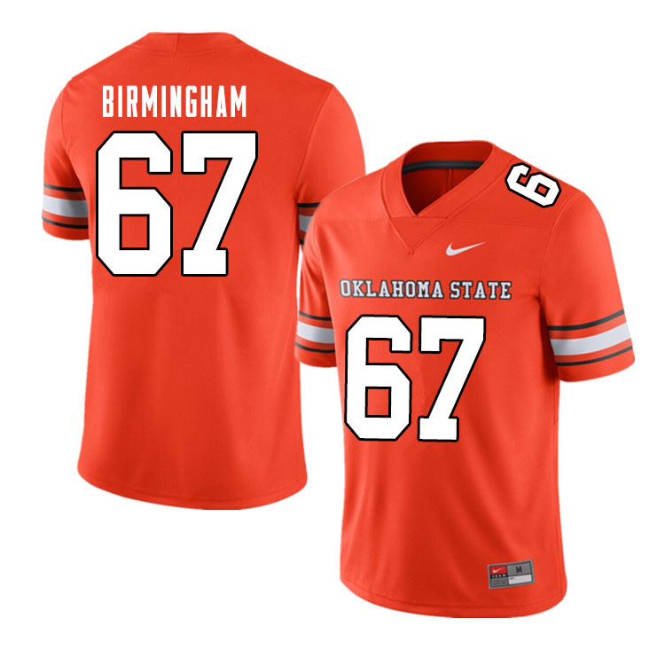 Men #67 Cole Birmingham Oklahoma State Cowboys College Football Jerseys Sale-Alternate Orange