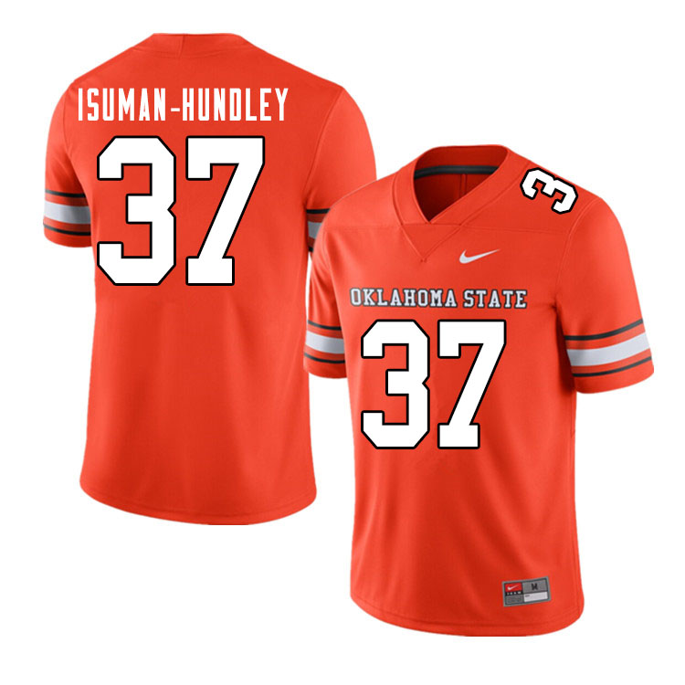 Men #37 Isreal Isuman-Hundley Oklahoma State Cowboys College Football Jerseys Sale-Alternate Orange