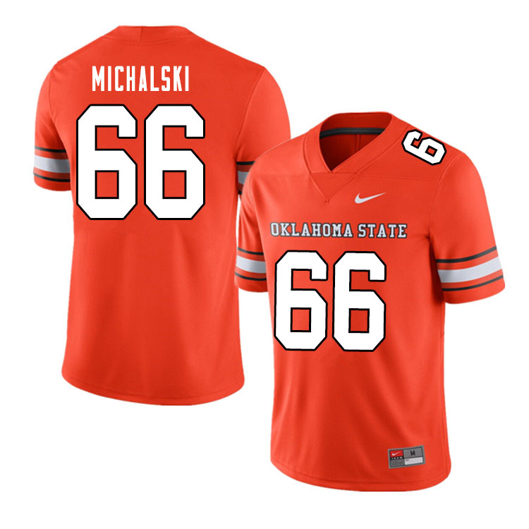 Men #66 Joe Michalski Oklahoma State Cowboys College Football Jerseys Sale-Alternate Orange