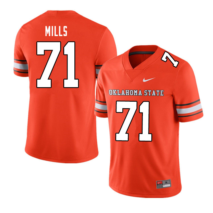 Men #71 Monroe Mills Oklahoma State Cowboys College Football Jerseys Sale-Alternate Orange